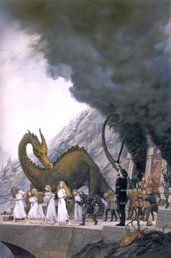 Ted Nasmith - Finduilas is Led Past Túrin at the Sack of Nargothrond.jpg